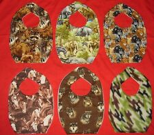 NEW cute CHILD BABY BIB wildlife safari jungle zoo animals 6 designs horse camo