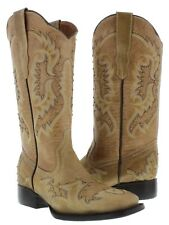 Womens Sand Gold Stitched Studded Western Cowboy Leather Square Boots