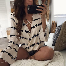 Women  Stripe Printed Tops  Casual Loose Long Sleeve Blouse Bandage Blouse