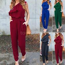 Womens Long Jumpsuit Chiffon Ruffle Playsuit Casual Romper Pants Trousers Z4P1