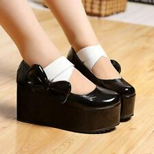 Sweet Womens High Platform Wedge Creeper Bow Lolita  Cosplay Mary Jane Shoes SZ