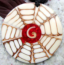 Shiva Eye Coral Paua Shell Pendant beige red Circle with chain Bead chain