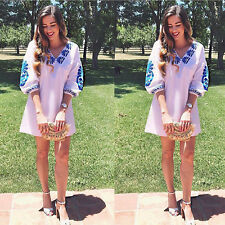 Short Sleeve Vest Top Blouse Casual Tops T-Shirt Women Summer Embroidery V neck