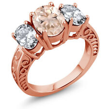 4.60 Ct Oval Peach Morganite 18K Rose Gold Plated Silver Ring