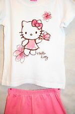 Girls Hello Kitty pink and white t-shirt and shorts set