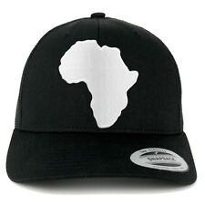 Solid White African Map Embroidered Iron On Patch Mesh Back Trucker Cap