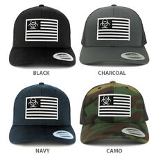 Biohazard Black White American Flag Embroidered Patch Mesh Back Trucker Cap