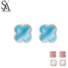 new fashion elegant silver stud earrings jewelries for women four leaf clover