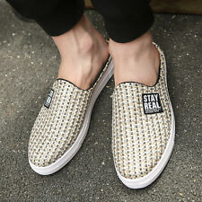 Fashion Flyknit Slip On Loafers Mens Flats Casual Round Toe Shoes Size New