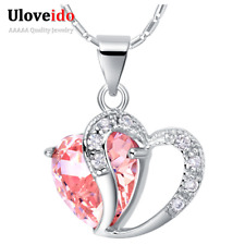 New Necklace Pendant Silver Heart Women Wedding Jewelry Crystal Love Chain