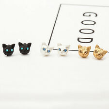Gold, Silver or Black Plated Tiny Cat Kitten Face Earrings Studs in Gift Bag/Box