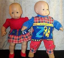 "Doll Clothes Baby Made 2 Fit American Girl 15"" in Twin Set 3pc Skirt Set Jumper"