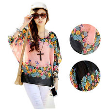 Chiffon Fashion Batwing Sleeve Stylish Lady Sexy  Round Neck Loose  Blouse