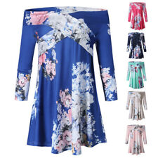 Long Sleeve Shirt Women's Off-Shoulder Casual Floral Blouse Loose T-shirt Tops
