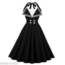 Zaful Womens Vintage Dress Summer Halter Black Elegant Style V-Neck Retro Dress