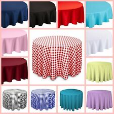 Linen Tablecloth Round Dinner Table Cover Polyester Tablecloths 108 Inch Decor