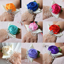 Wrist Corsage Bracelet Bridesmaid Sisters Hand Flowers Wedding Party 9 Colors