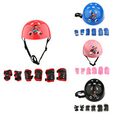 7 Pieces Kids Roller Skating Cycling Helmet Knee Elbow Pad Wrist Guard Sets