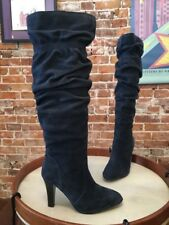 Hot in Hollywood Navy Blue Suede OTK Over the Knee Slouchy Heel Boots NEW