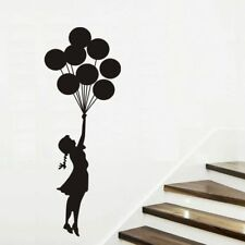 Banksy Girl and Balloons Wall Stickers Vinyl  Mural Nursery Decor Decals Art