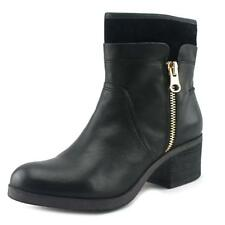 ShoeMint Bentley Women  Round Toe Leather Black Ankle Boot