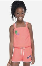 NWT JUSTICE Girls 8/10 12/14 Coral Terry Swim Coverup Romper