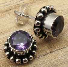 925 Sterling Silver Plated OXIDIZED STUD Earrings, Genuine Gemstone Choices Gift
