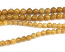 Natural Gemstone Yellow Jade Beads Smooth Round Loose Stone Beads 6mm 8mm 15''
