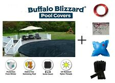Above Ground Round Swimming Pool Winter Cover w/ Clips & Air Pillow & 10 YR WTY