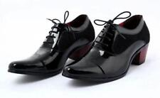 Men's Wing Tip Patent Leather Lace Up Cuban Heel Pointed Toe Oxfords Dress Shoes