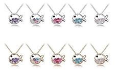 Silver Gold Plated Diamante Crystals Cute Fish Necklace Pendant in Gift Bag/Box