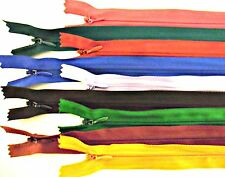 """ZIPS INVISIBLE/CONCEALED 22"""" 56CM NYLON X10, ASSORTED COLOURS"""