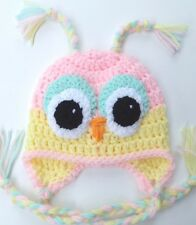CROCHET OWL BABY HAT infant toddler child girl pink cap beanie photo prop USA