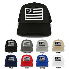 Biohazard Black White American Flag Embroidered Iron on Patch Trucker Mesh Cap