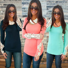 Fashion Women Lady Long Sleeve Lace Round Collar Summer Casual Shirt Tops Blouse