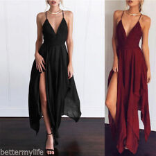 Gamiss Sexy Womens long evening party deep V-neck soild long dress casual dress