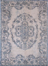 Traditional Ivory Blue Area Rug Persian Oriental Scrolls Medallion Patio Carpet