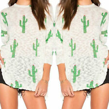 Long Sleeve Cactus Printing Tops Sexy Womens Fashion Casual Loose T-Shirt Blouse
