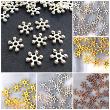 6mm, 8mm, 10mm Snowflake Spacer Jewelry finding Bead gold silver Antique Brass
