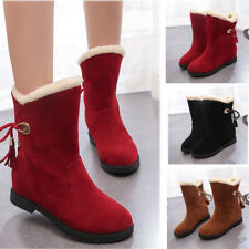 Womens Suede Faux Fur Mid Calf Warm Snow Boots Low Heels Block Heels Solid Shoes