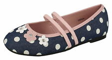 Spot On Girls Blue/Pink Polka Dot Canvas Dolly Shoes - H2431