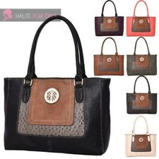 WOMENS NEW FAUX LEATHER MIX MATERIAL PANEL MEDALLION DETAIL SHOULDER TOTE BAG