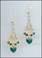 Sparkling Gold Earrings with Swarovski EMERALD GREEN Crystal Hearts