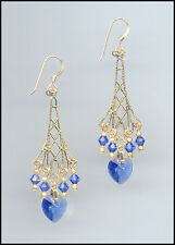 Sparkling Gold Earrings with Swarovski SAPPHIRE BLUE Crystal Hearts