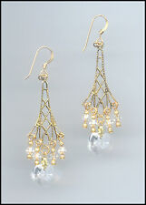Sparkling Gold Earrings with Swarovski CLEAR Crystal Hearts