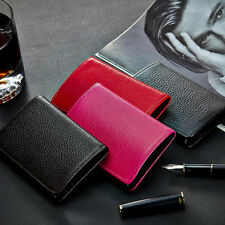 Genuine Leather Business Name Credit ID Card Metal Stainless Holder Wallet Case