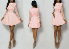 Sexy Womens O-Neck Lace Long Sleeve Mini Dress Evening Cocktail Party Club Dress