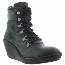 Fly London Sica 678 Seaweed Bottle Women Leather Wedge Ankle Laces Boots Booties