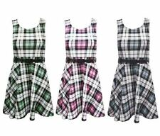 New Ladies Womens Tartan Check Print Belted Two Tone Skater Dress Size UK 8-14
