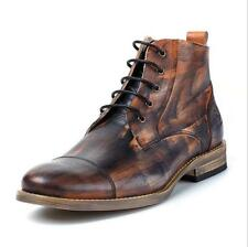 Retro Handmade Special Pattern Leather Mens Ankle Boots High Top Lace Up Shoes